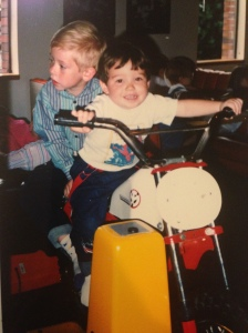 Jeremy and I rode the motorcycle back in the day, because sadly I couldn't find any pictures of us playing in the ball pit