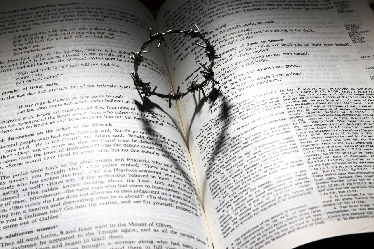 Bible open with cross of thorns on top making shadow of a heart