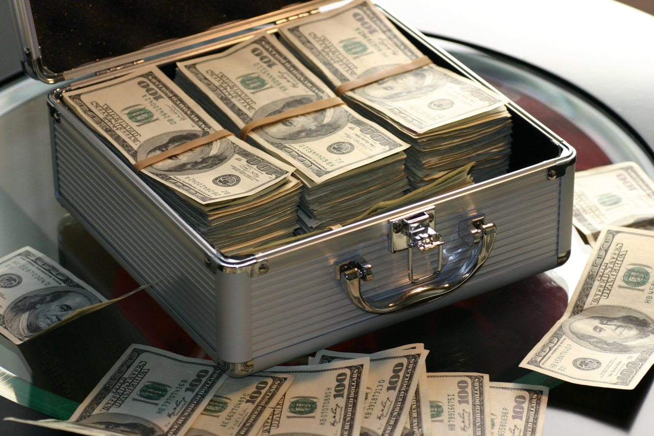 Case full of cash stacks